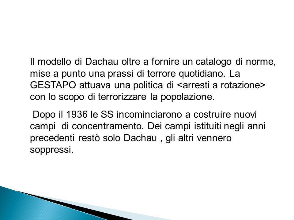 Il modello di Dachau oltre a fornire un catalogo di norme, mise a punto una prassi di terrore quotidiano. La GESTAPO attuava una politica di <arresti a rotazione> con lo scopo di terrorizzare la popolazione.