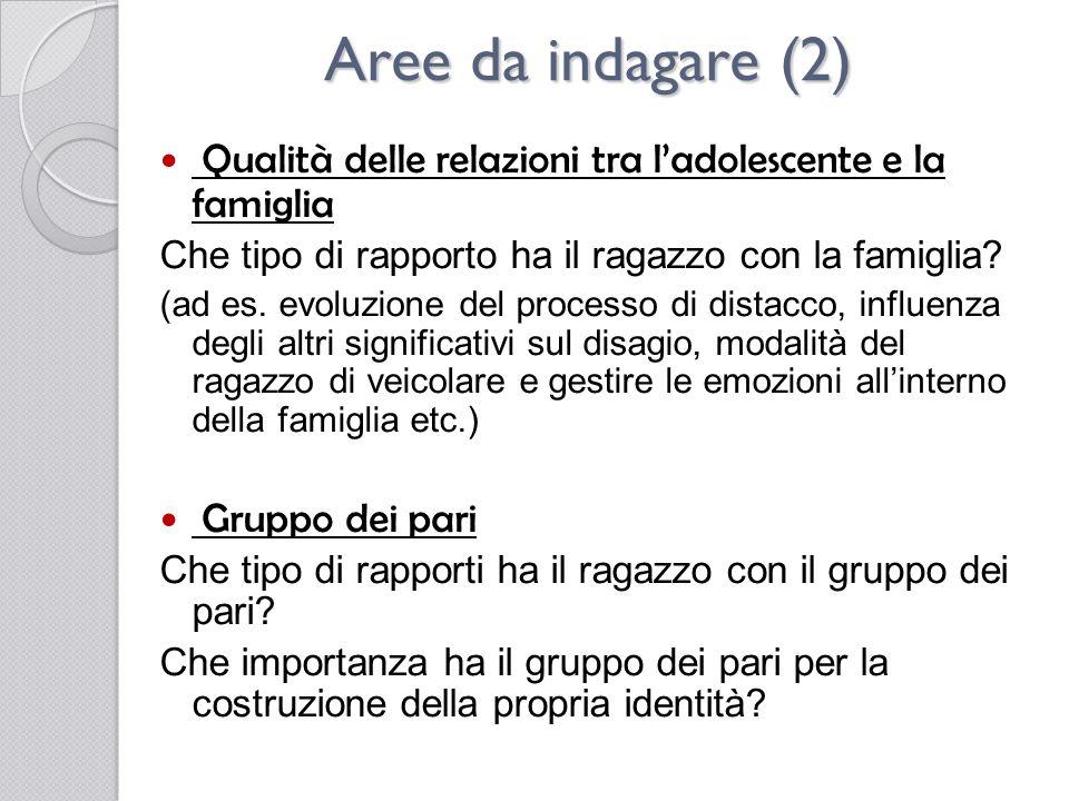 Aree da indagare (2) Qualità delle relazioni tra l'adolescente e la famiglia. Che tipo di rapporto ha il ragazzo con la famiglia