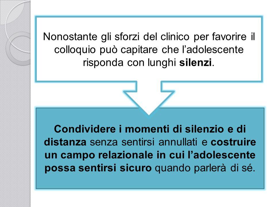 Nonostante gli sforzi del clinico per favorire il colloquio può capitare che l'adolescente risponda con lunghi silenzi.