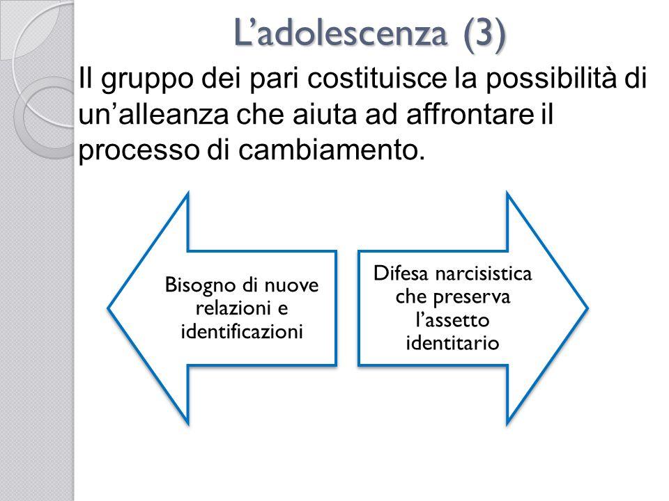 L'adolescenza (3) Il gruppo dei pari costituisce la possibilità di un'alleanza che aiuta ad affrontare il processo di cambiamento.