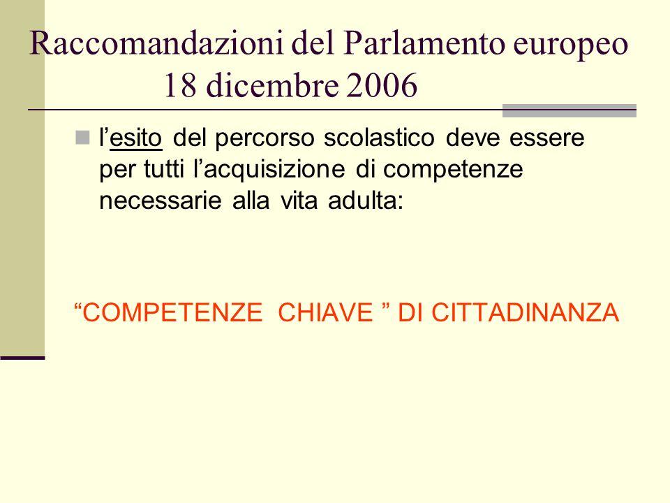 Raccomandazioni del Parlamento europeo 18 dicembre 2006