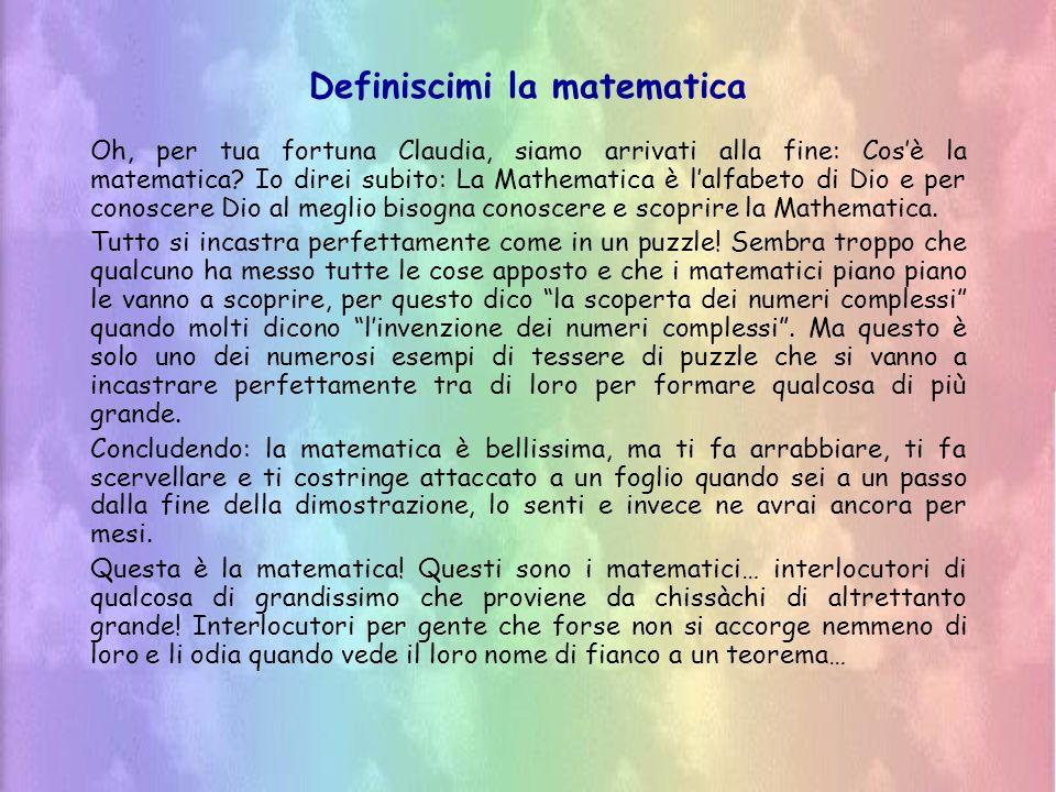Definiscimi la matematica