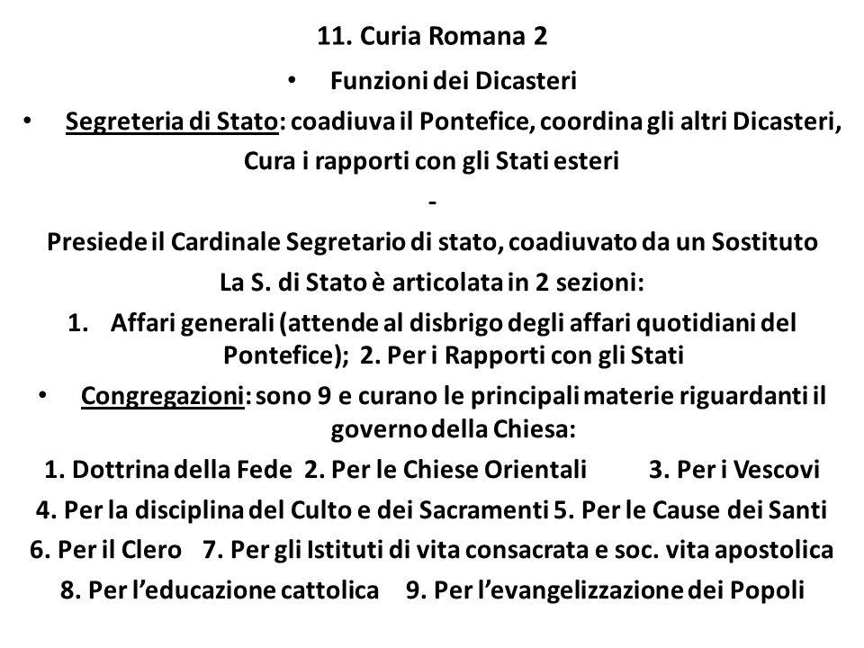 11. Curia Romana 2 Funzioni dei Dicasteri