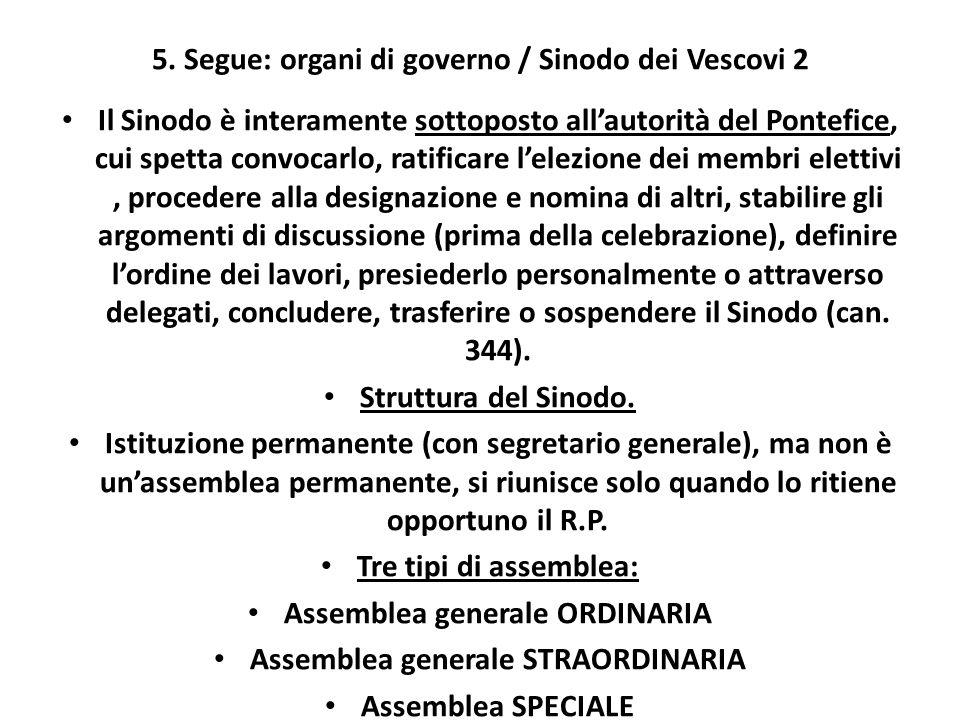 5. Segue: organi di governo / Sinodo dei Vescovi 2
