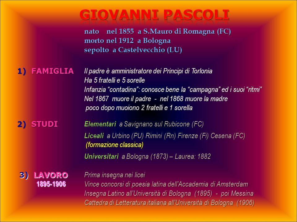 Giovanni PASCOLI nato nel 1855 a S.Mauro di Romagna (FC)