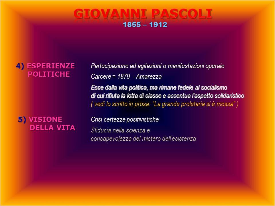 Giovanni PASCOLI 1855 – 1912 4) ESPERIENZE POLITICHE