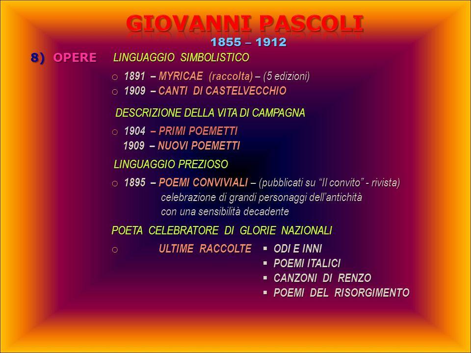 Giovanni PASCOLI 1855 – 1912 8) OPERE LINGUAGGIO SIMBOLISTICO