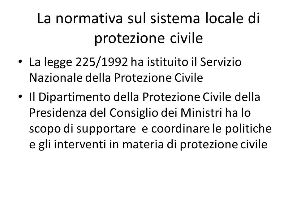 La normativa sul sistema locale di protezione civile