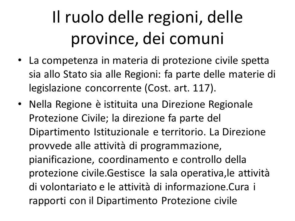 Il ruolo delle regioni, delle province, dei comuni