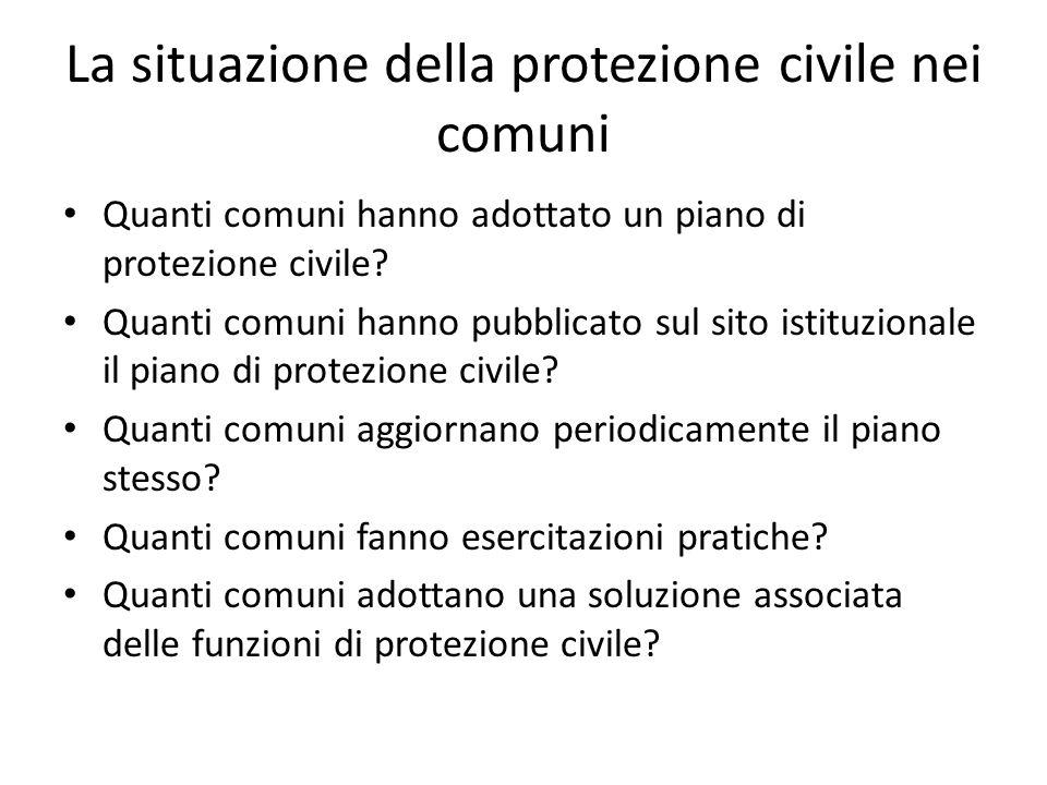 La situazione della protezione civile nei comuni