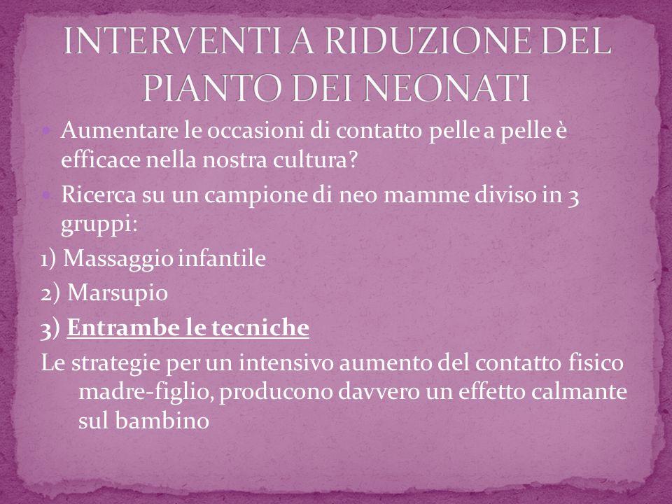 INTERVENTI A RIDUZIONE DEL PIANTO DEI NEONATI