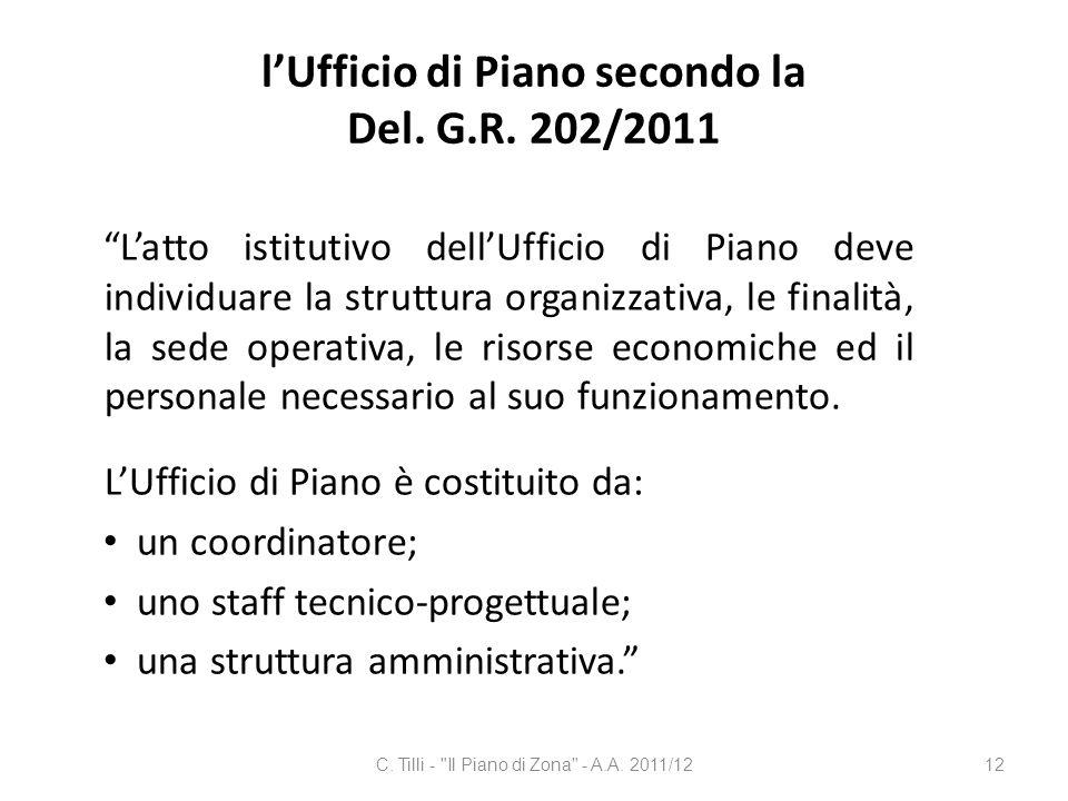l'Ufficio di Piano secondo la Del. G.R. 202/2011