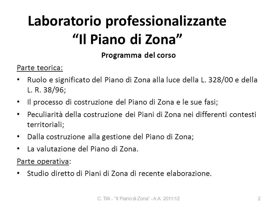 Laboratorio professionalizzante Il Piano di Zona