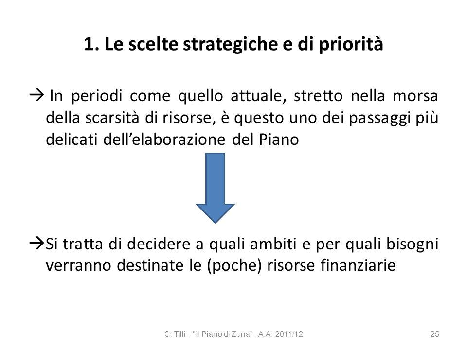 1. Le scelte strategiche e di priorità