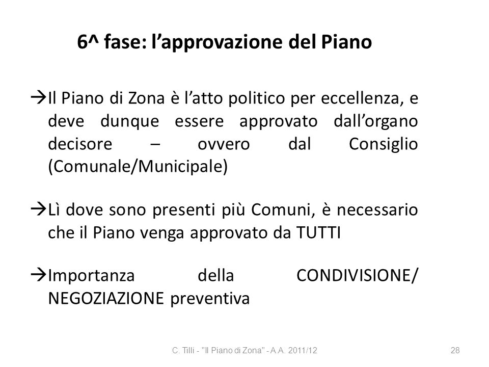 6^ fase: l'approvazione del Piano