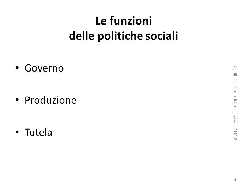 Le funzioni delle politiche sociali