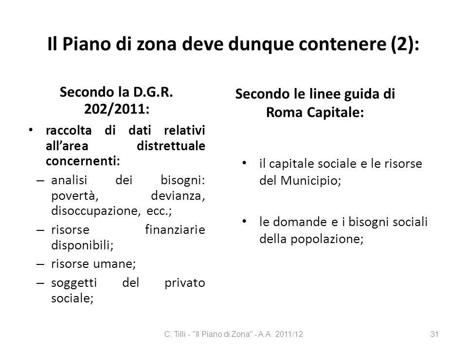 Il Piano di zona deve dunque contenere (2):