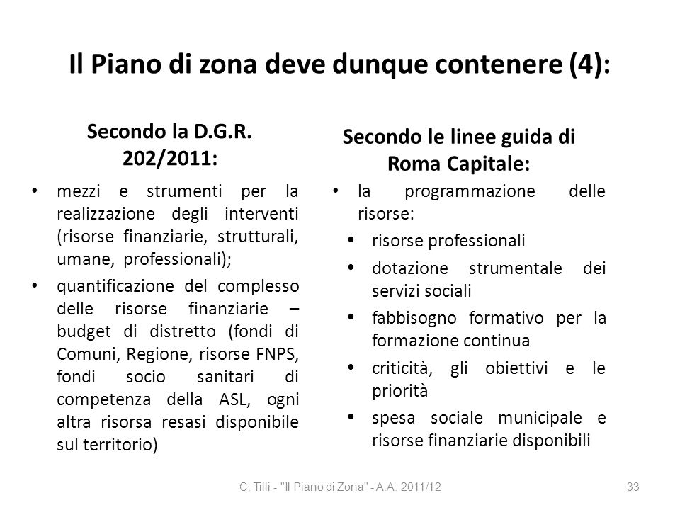 Il Piano di zona deve dunque contenere (4):