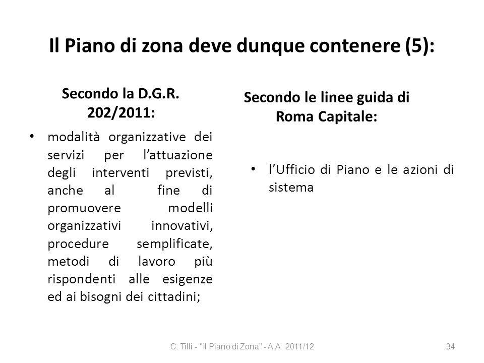 Il Piano di zona deve dunque contenere (5):
