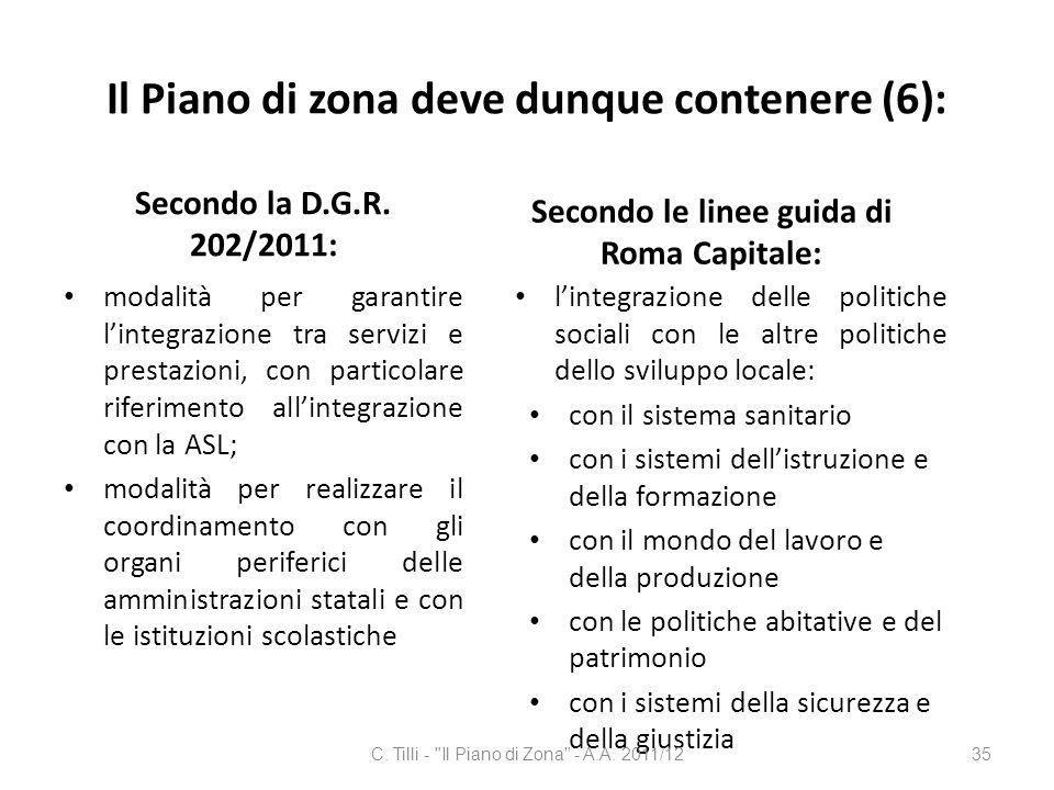 Il Piano di zona deve dunque contenere (6):
