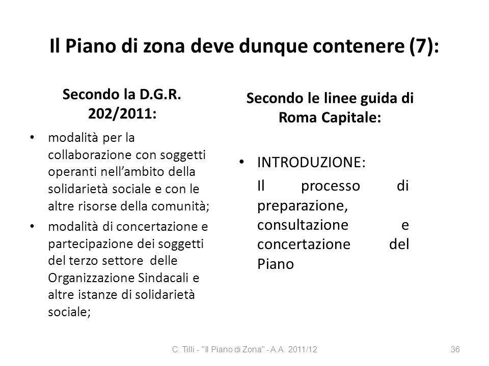 Il Piano di zona deve dunque contenere (7):