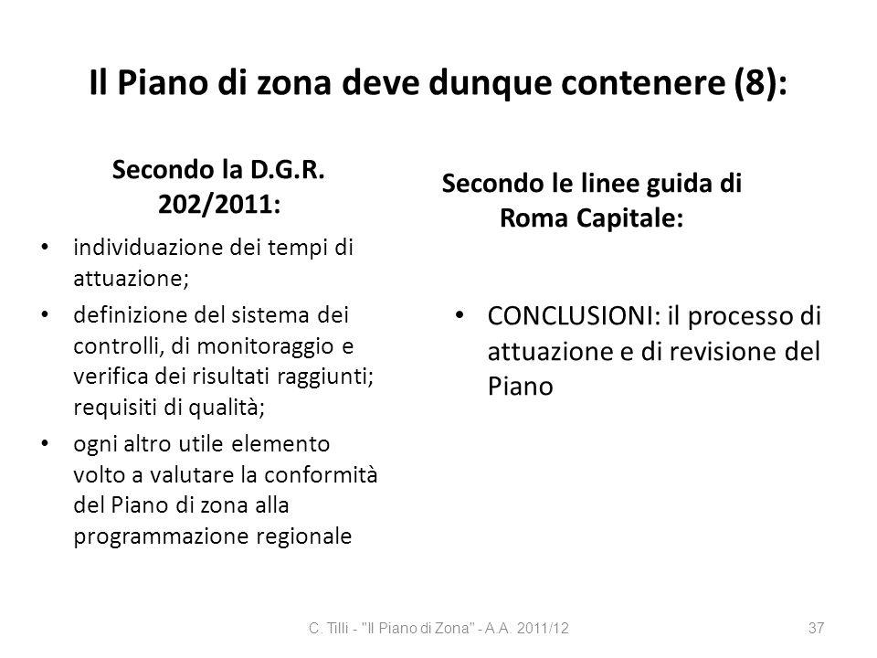 Il Piano di zona deve dunque contenere (8):