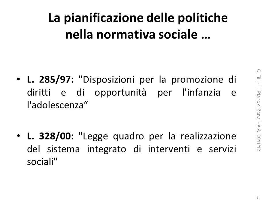 La pianificazione delle politiche nella normativa sociale …