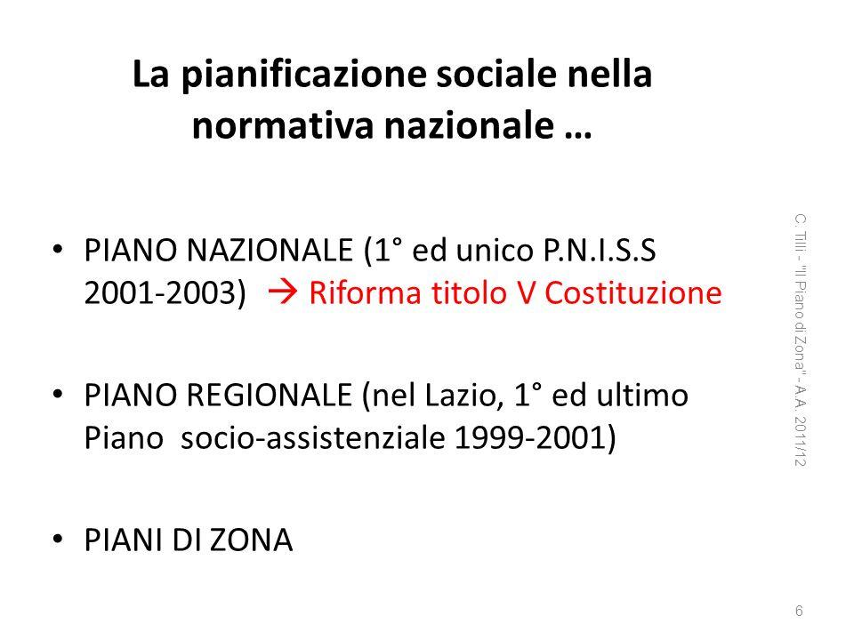 La pianificazione sociale nella normativa nazionale …
