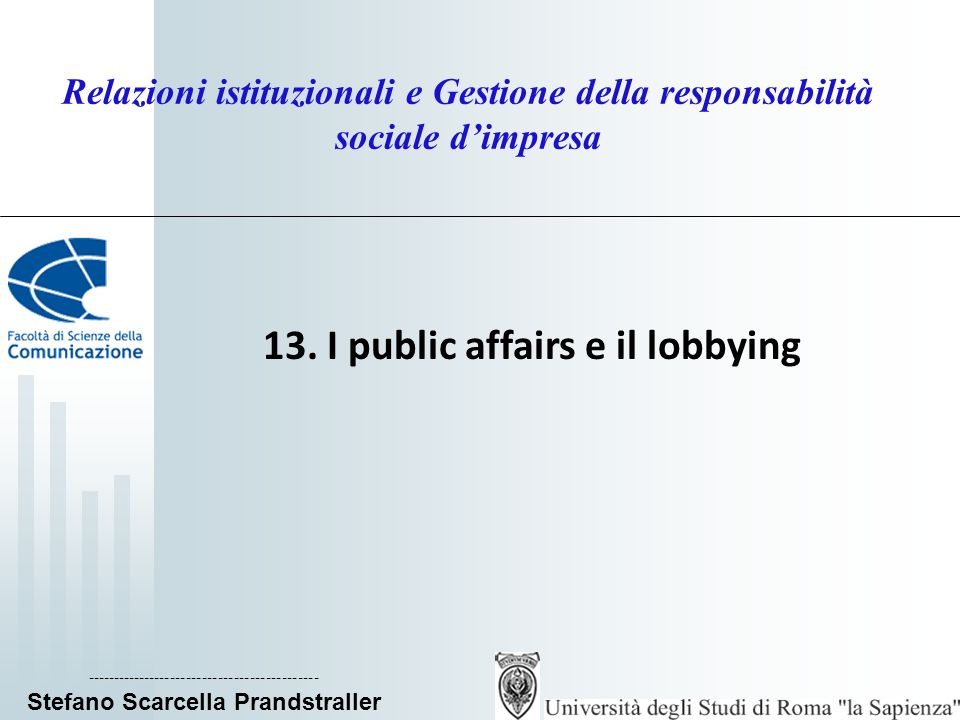 13. I public affairs e il lobbying
