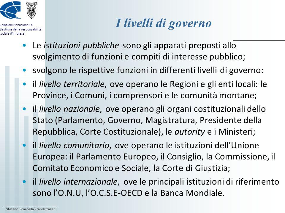 I livelli di governo Le istituzioni pubbliche sono gli apparati preposti allo svolgimento di funzioni e compiti di interesse pubblico;