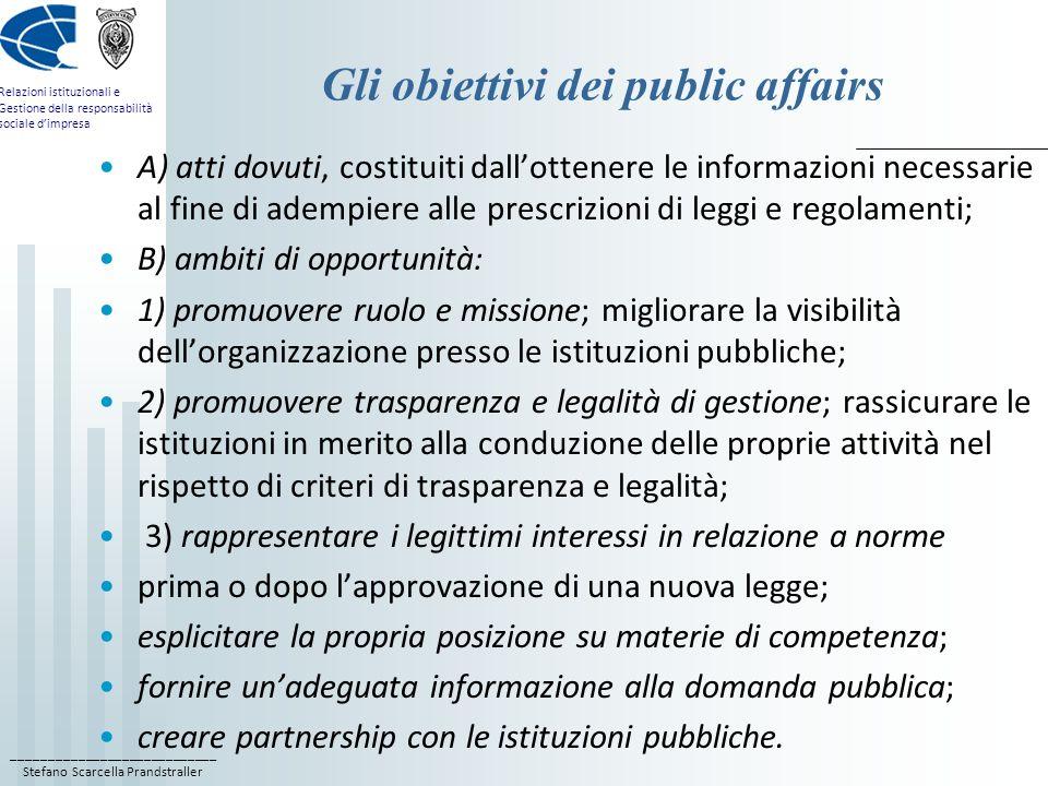Gli obiettivi dei public affairs