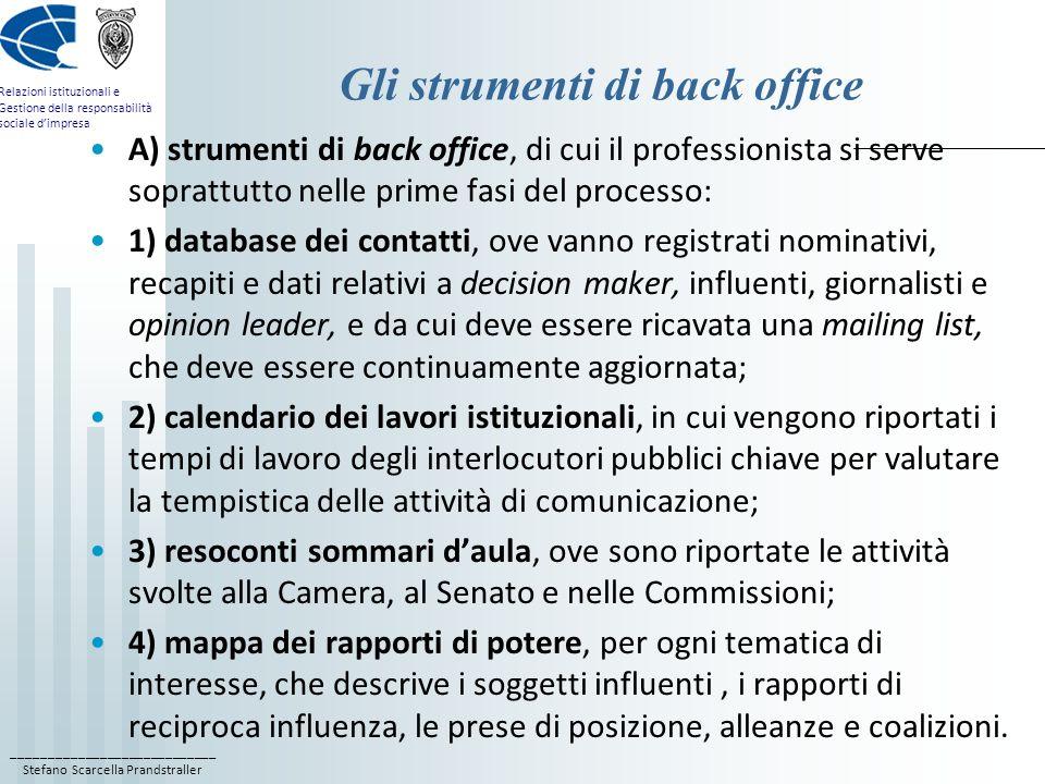 Gli strumenti di back office
