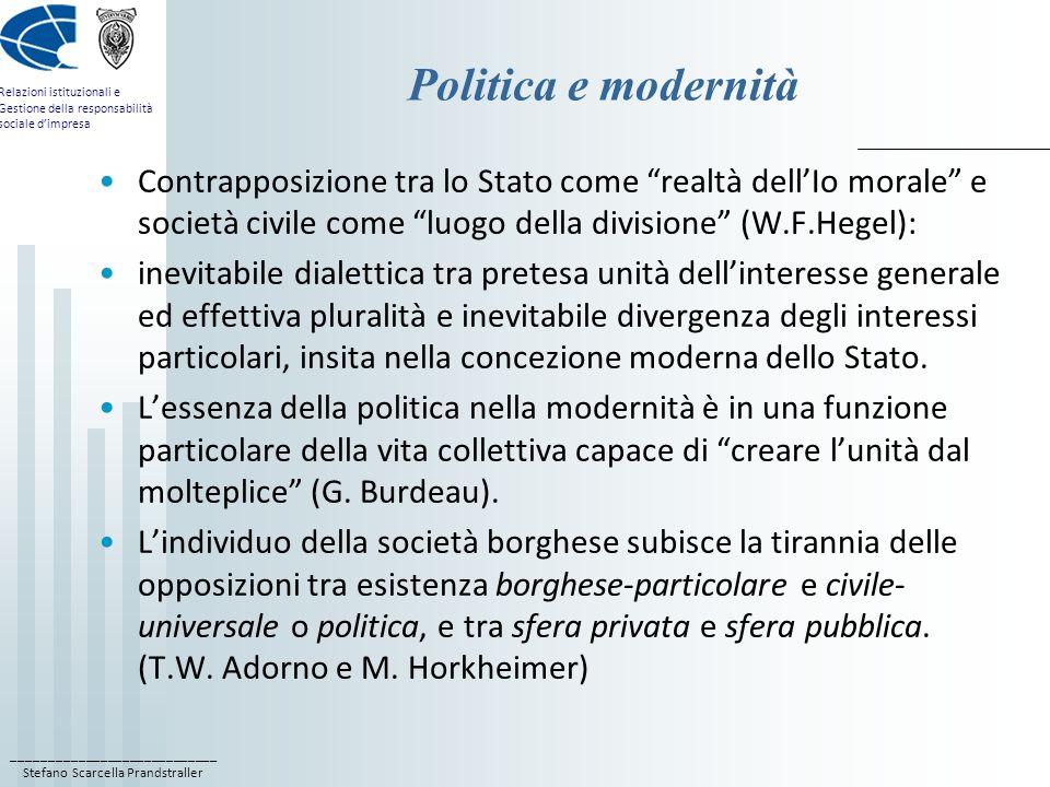 Politica e modernità Contrapposizione tra lo Stato come realtà dell'Io morale e società civile come luogo della divisione (W.F.Hegel):