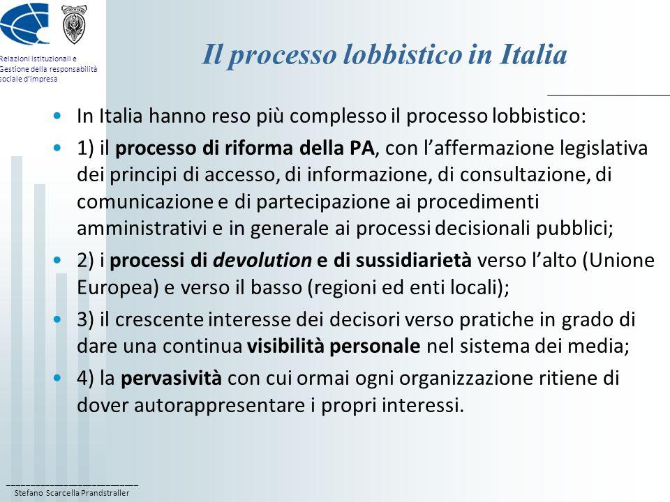Il processo lobbistico in Italia