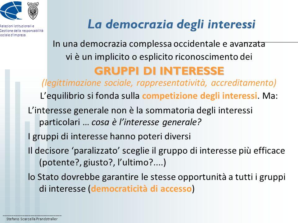 La democrazia degli interessi
