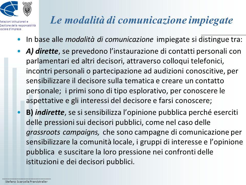 Le modalità di comunicazione impiegate
