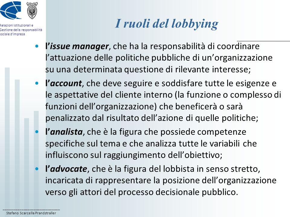 I ruoli del lobbying