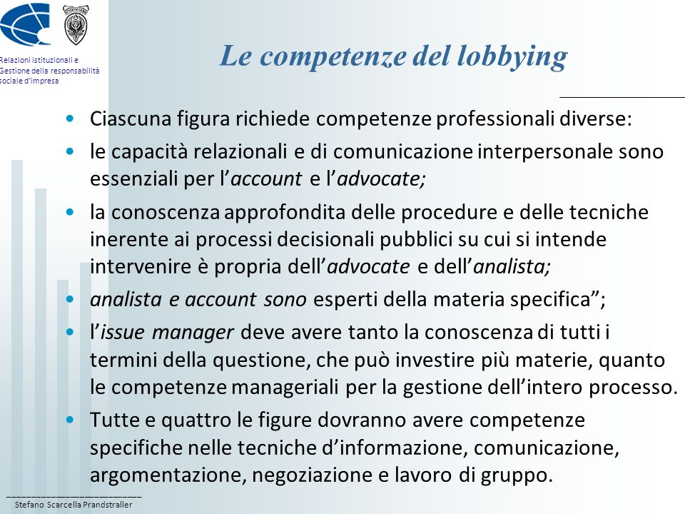 Le competenze del lobbying