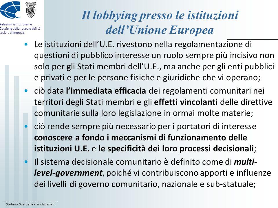 Il lobbying presso le istituzioni dell'Unione Europea