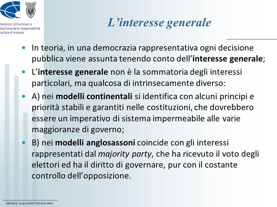 L'interesse generale In teoria, in una democrazia rappresentativa ogni decisione pubblica viene assunta tenendo conto dell'interesse generale;