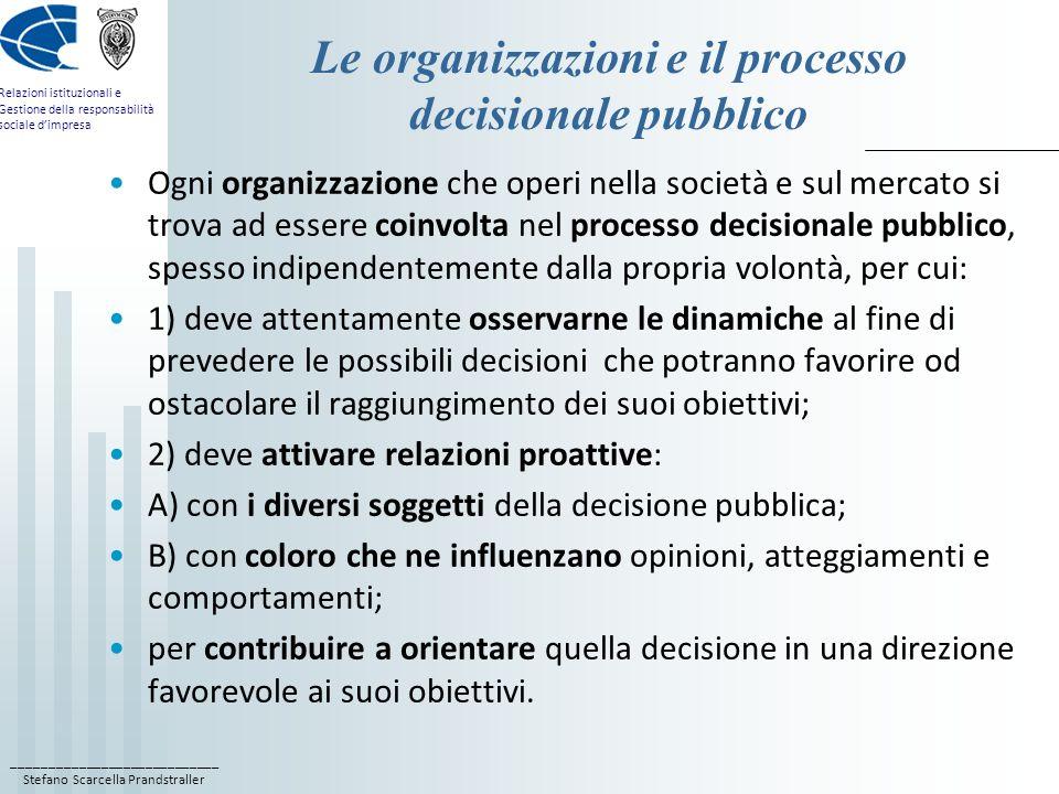 Le organizzazioni e il processo decisionale pubblico