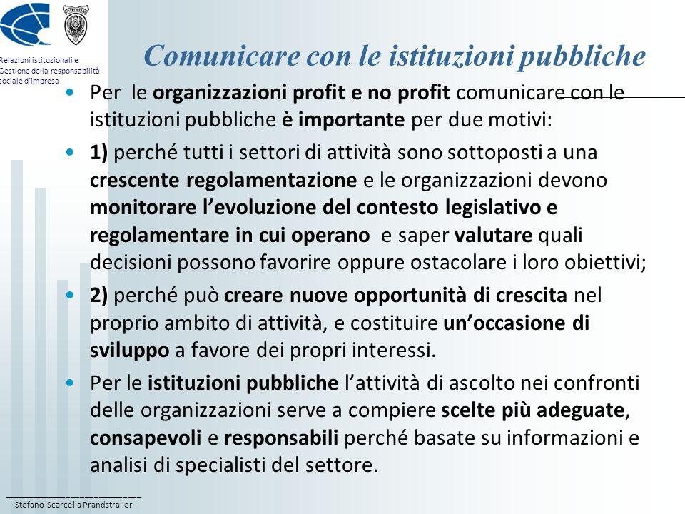 Comunicare con le istituzioni pubbliche