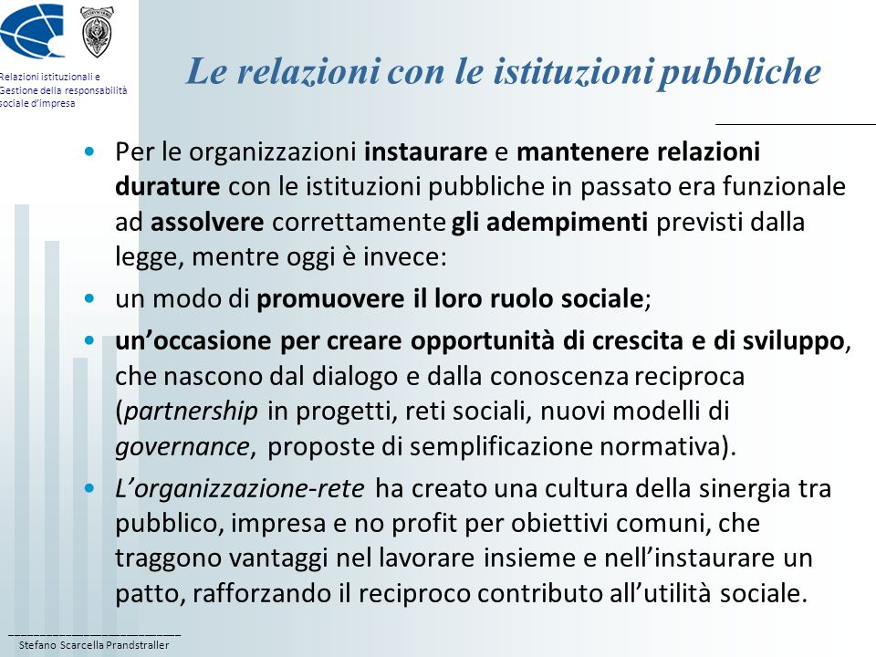 Le relazioni con le istituzioni pubbliche