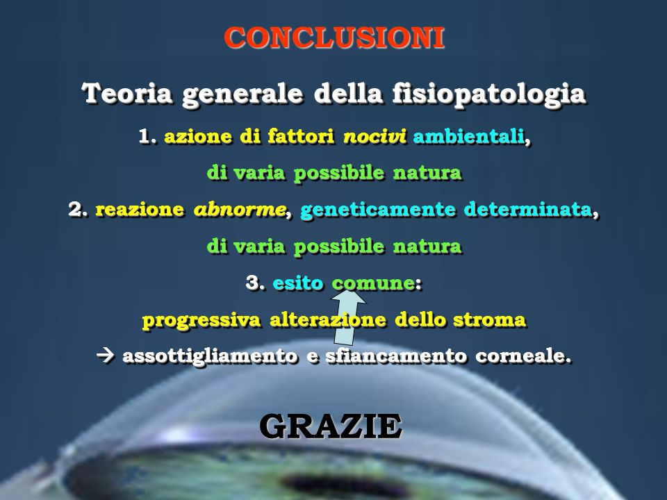 GRAZIE CONCLUSIONI Teoria generale della fisiopatologia