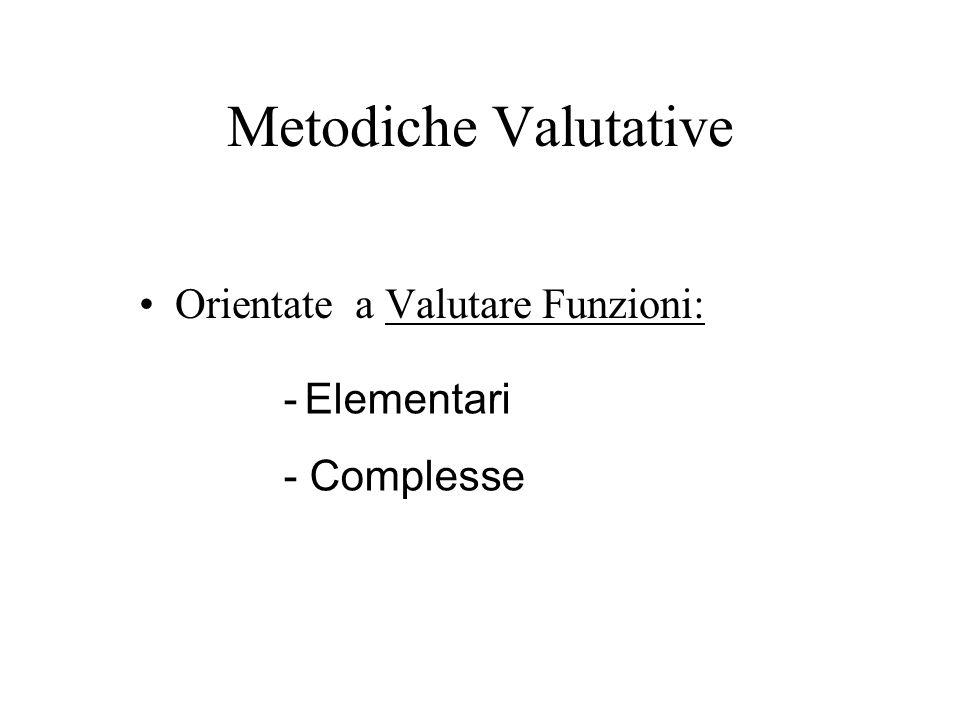 Metodiche Valutative Orientate a Valutare Funzioni: - Complesse