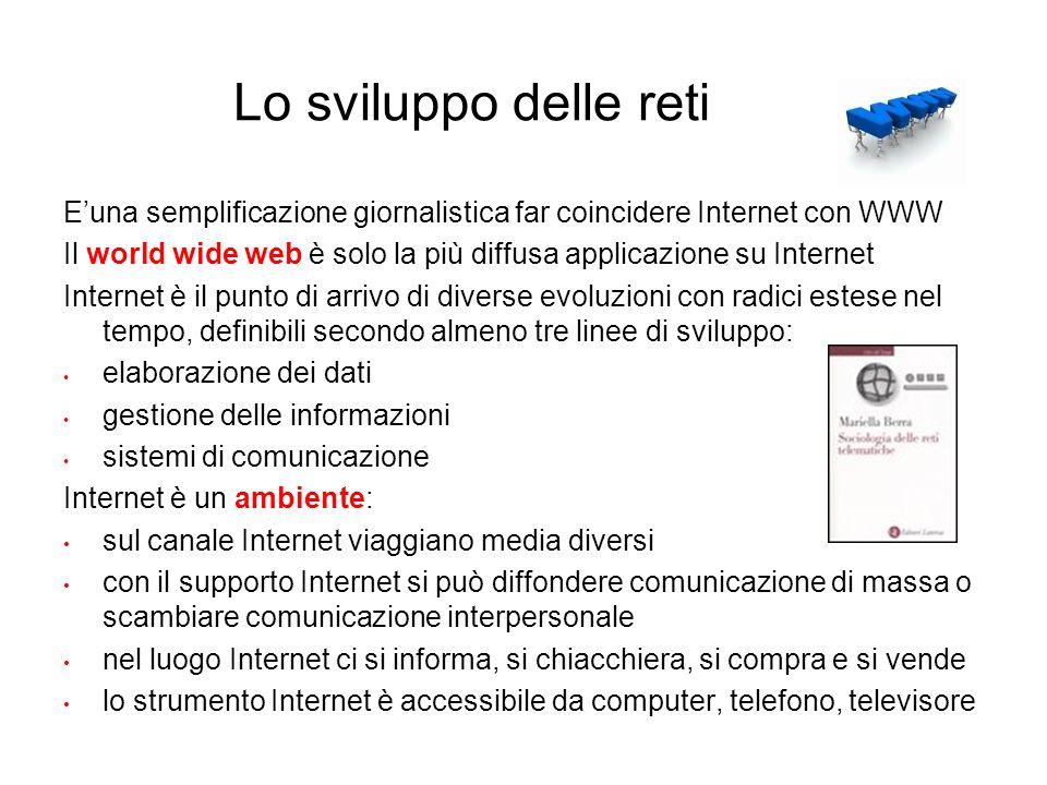 Lo sviluppo delle reti E'una semplificazione giornalistica far coincidere Internet con WWW.