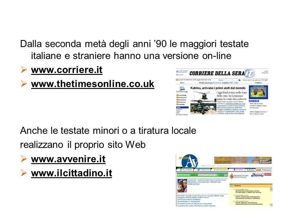 Dalla seconda metà degli anni '90 le maggiori testate italiane e straniere hanno una versione on-line