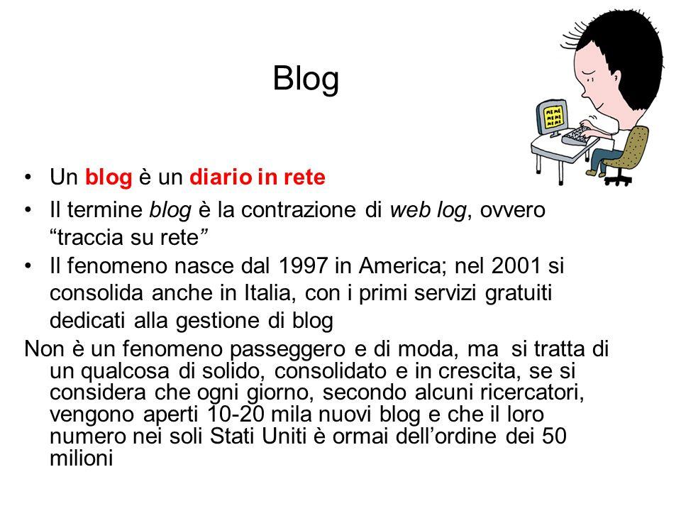 Blog Un blog è un diario in rete