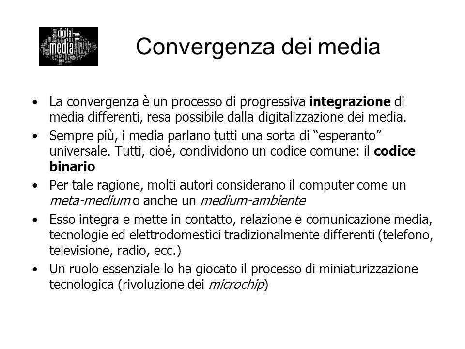 Convergenza dei media La convergenza è un processo di progressiva integrazione di media differenti, resa possibile dalla digitalizzazione dei media.