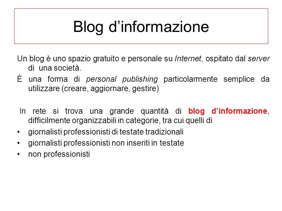 Blog d'informazione Un blog è uno spazio gratuito e personale su Internet, ospitato dal server di una società.